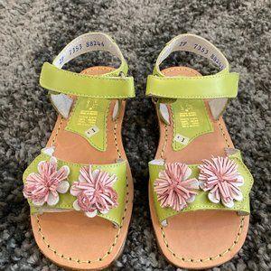 Girls Kid Express Lime Green Flower Sandals